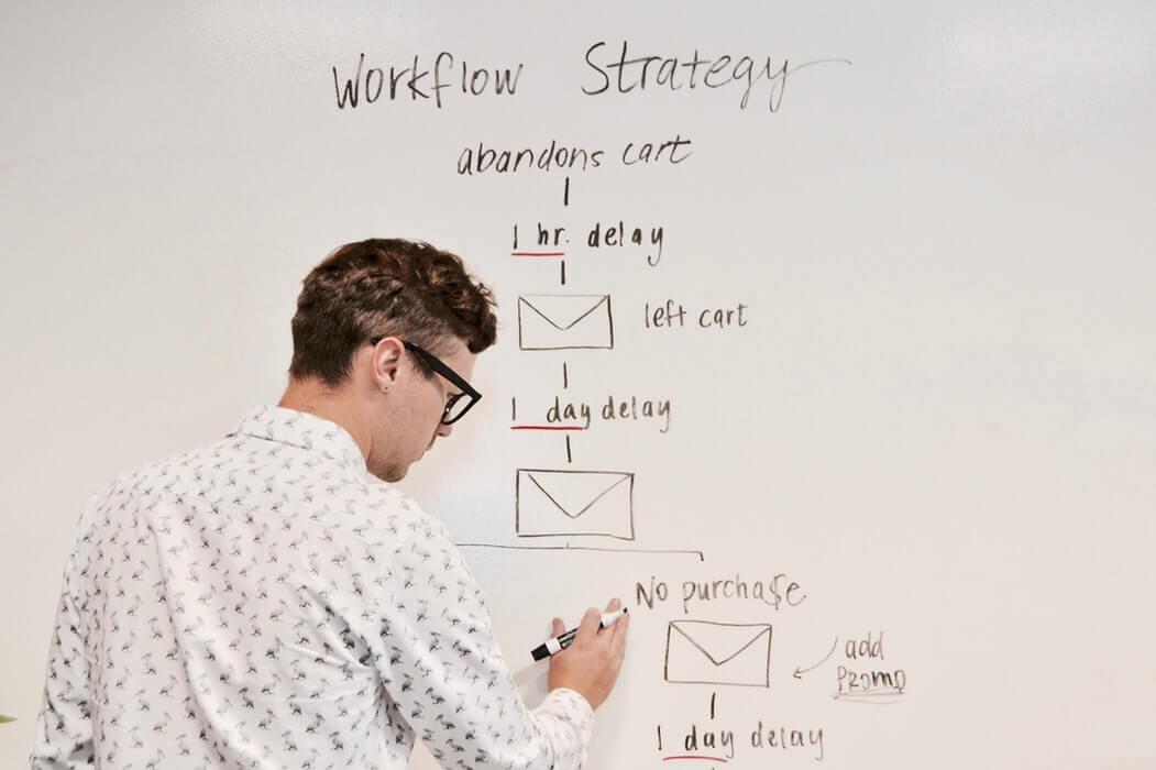 Homem desenhando processos em quadro branco.